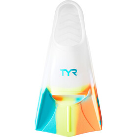 TYR Stryker Silicone Fins XXL, currant orange/teal/yellow/clear